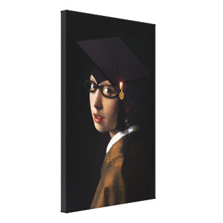 Girl with the Graduation Hat (Pearl Earring) Canvas Prints