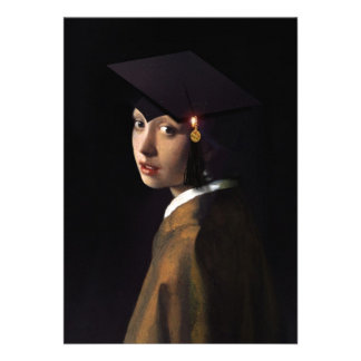 Girl with the Graduation Hat Pearl Earring Custom Invitation