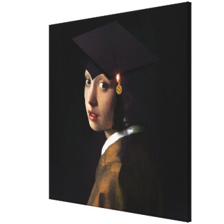 Girl with the Graduation Hat (Pearl Earring) Stretched Canvas Print
