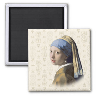 Girl with the Pearl Earring Square Magnet