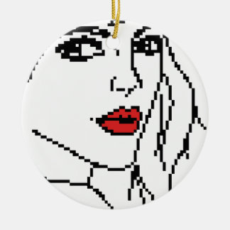 Girl with the red lips christmas ornament