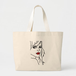 Girl with the red lips large tote bag