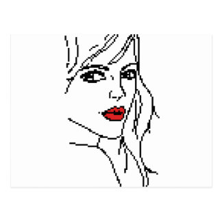 Girl with the red lips postcard