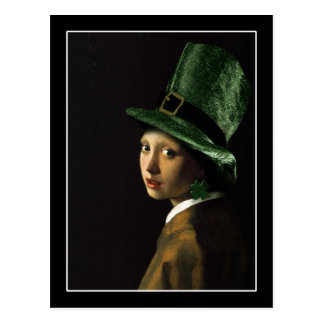 Girl With The Shamrock Earring - St Patrick s Day Post Cards