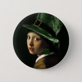 Girl With The Shamrock Earring - St Patrick's Day 6 Cm Round Badge