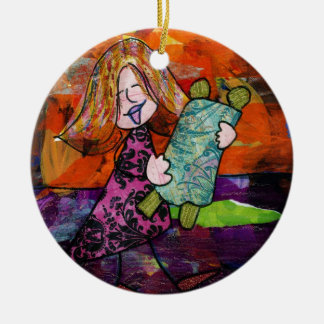 Girl with Torah Christmas Ornament