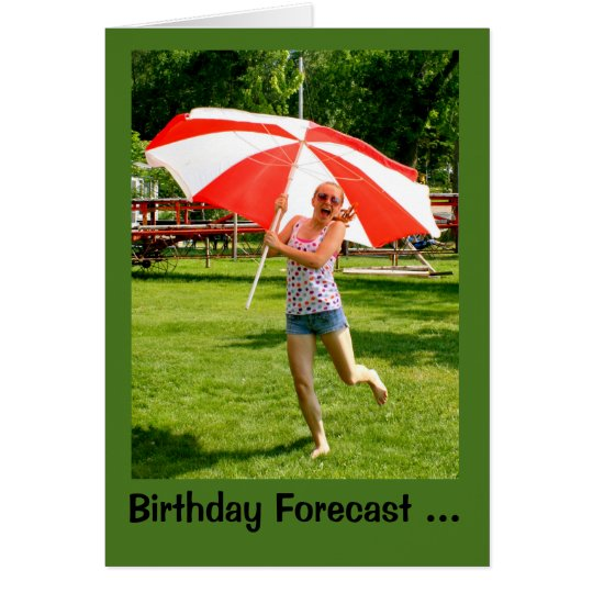 Girl With Umbrella 100% Chance Of Birthday Fun