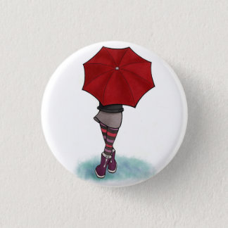 girl with umbrella 3 cm round badge