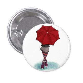 girl with umbrella 3 cm round badge