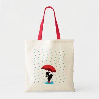 Girl with Umbrella in the Rain Canvas Bag