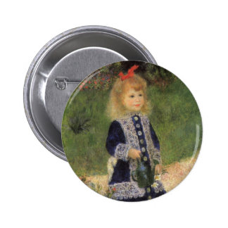 Girl with Watering Can, Renoir, Impressionism Art 6 Cm Round Badge