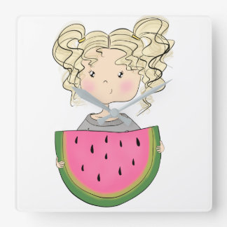 Girl With Watermelon Square Wall Clock
