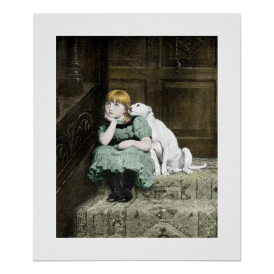 Girl With White Dog Poster