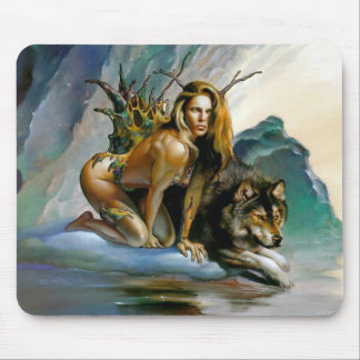 girl-wolf mouse mat