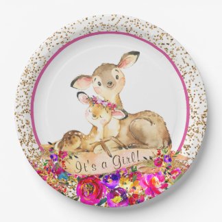 Girl Woodland Deer Baby Shower Paper Plates