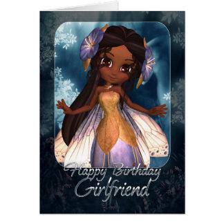 Girlfriend Birthday Card - Cute Blue Fairy
