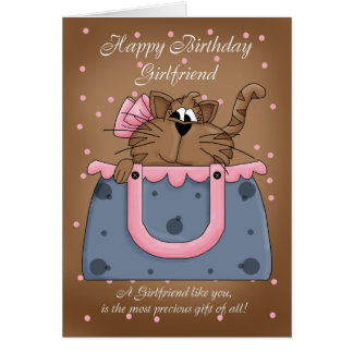 Girlfriend Birthday Card - Cute Cat Purse Pet