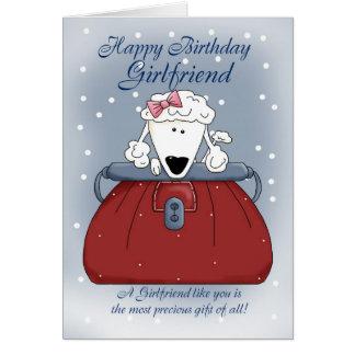 Girlfriend Birthday Card - Cute Puppy Purse Pet