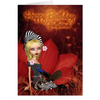 Girlfriend, Birthday Card With Cute Fantasy Elf On