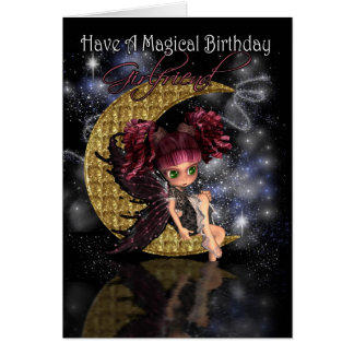 Girlfriend Birthday card with gothic moon fairy