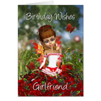 Girlfriend Birthday Card With Poppy Meadow Fairy -