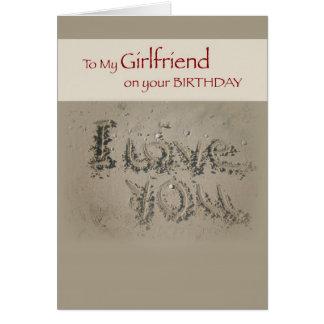 Girlfriend Birthday Love, Writing in Sand on Beach Card