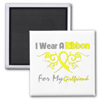 Girlfriend - I Wear A Yellow Ribbon Military Suppo Square Magnet