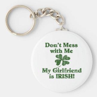Girlfriend is Irish Basic Round Button Key Ring