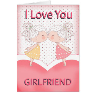 Girlfriend, Lesbian, Cute Kissing Couple Valentine Card