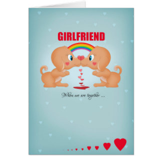 Girlfriend Lesbian Valentine's Day Kissing Dogs An Greeting Card