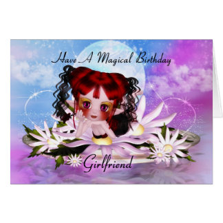 Girlfriend Magical Fairy Birthday Greeting Card
