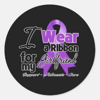 Girlfriend - Pancreatic Cancer Ribbon Round Sticker