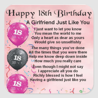 Girlfriend Poem - 18th Birthday Square Sticker