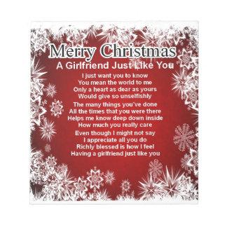 Girlfriend Poem  - Christmas Design Notepad