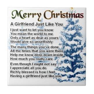 Girlfriend Poem - Christmas Design Small Square Tile