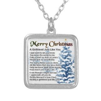 Girlfriend Poem - Christmas Design Square Pendant Necklace