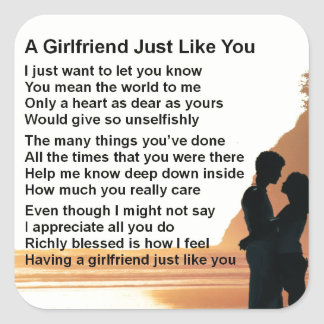 Girlfriend poem - Silhouette Lovers Design Square Sticker