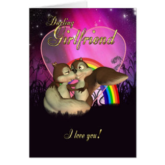 Girlfriend Valentine's Day Card With Cute Love Squ