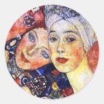 Girlfriends by Gustav Klimt Round Sticker
