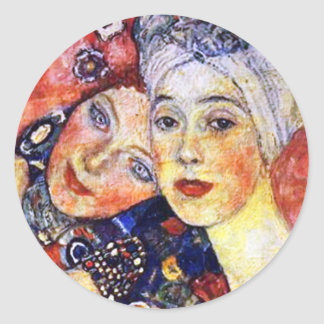 Girlfriends by Gustav Klimt Round Sticker