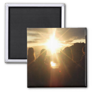 Girlfriends Watching the Sunset Square Magnet