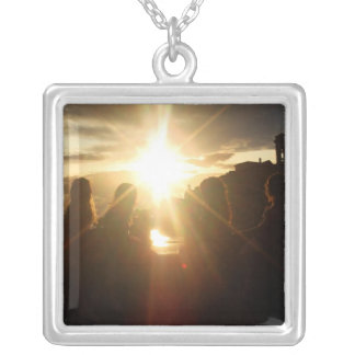 Girlfriends Watching the Sunset Square Pendant Necklace