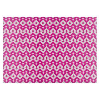 Girlie Candy Pink, White Geometric Islamic Pattern Cutting Board