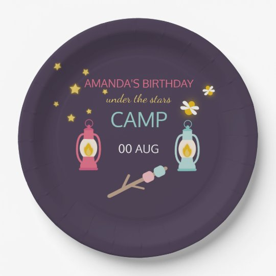 Girlie Glamping Birthday Party personalised Paper Plate