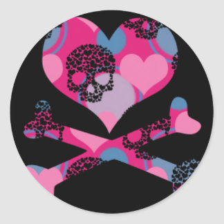 Girlie Heart and Cross Bones Round Sticker