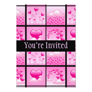 """Girlie Pink Hearts Of Love 5"""" X 7"""" Invitation Card"""