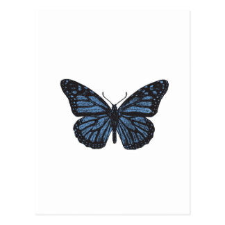 Girlie Vintage Monarch Butterfly Blue Postcard