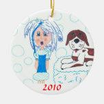GirlInBlue-StBernard, 2010 Christmas Tree Ornament