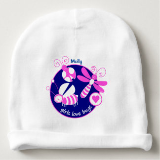 GIRLMPOWER BRIGHT PINK GIRL INSECT/BUG CUSTOMIZED BABY BEANIE