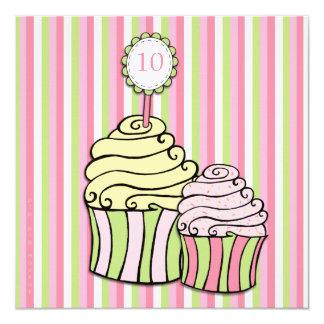 Girls 10th Birthday Cupcake Striped Party Invite